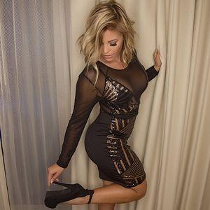 Dresses & Skirts - Black sequin long sleeve mesh cocktail dress